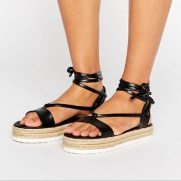 3adfc7c30 ASOS Shoes | Juliana Tie Leg Espadrilles Black | Poshmark